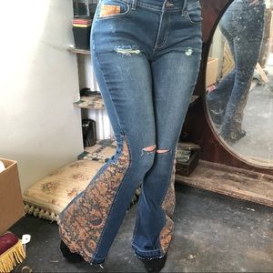 NWT hippy flare distressed denim jeans new w tags
